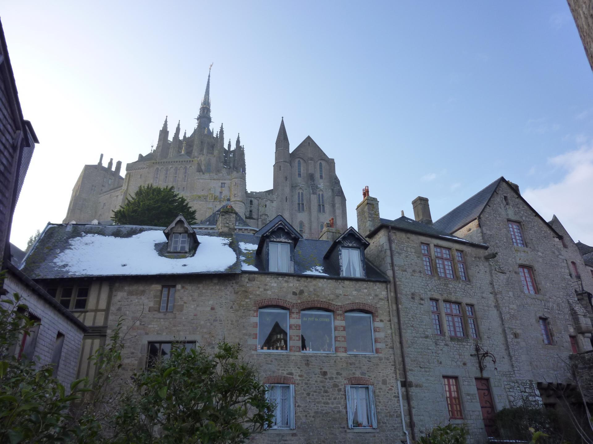 snowy Mont Saint Michel
